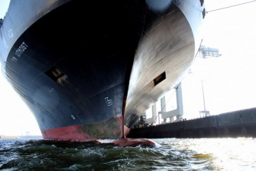 Ship painted with recycled above sea level marine coatings